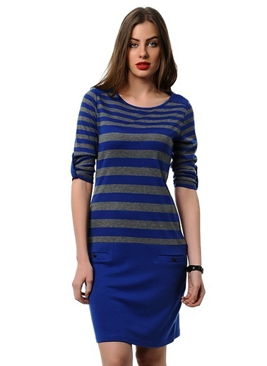 Asymmetry Çizgili Elbise Saks